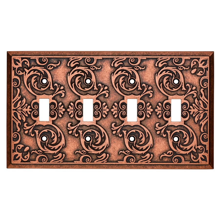 Brainerd Fairhope 4-Gang Sponged Copper Quad Toggle Wall Plate