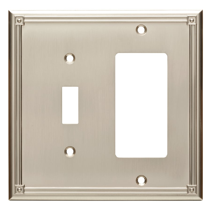 Brainerd Ruston 2-Gang Satin Nickel Single Toggle/Decorator Wall Plate