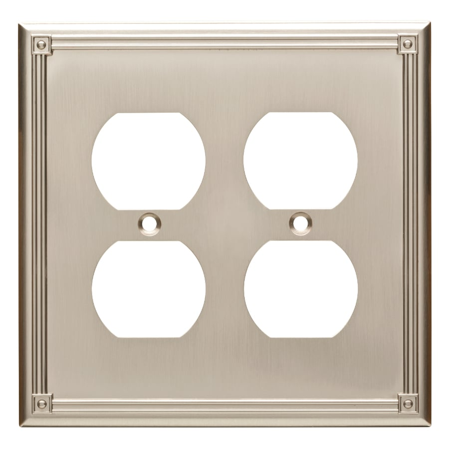 Brainerd Ruston 2-Gang Satin Nickel Double Duplex Wall Plate