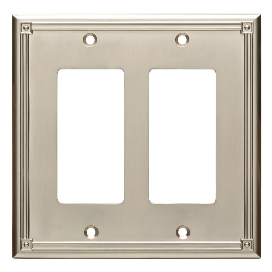 Brainerd Ruston 2-Gang Satin Nickel Double Decorator Wall Plate