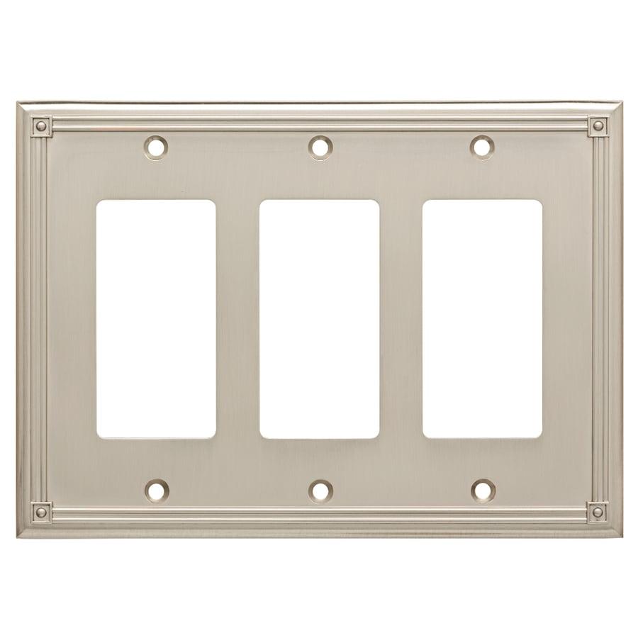 Brainerd Ruston 3-Gang Satin Nickel Triple Decorator Wall Plate