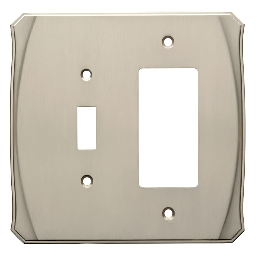 Brainerd Serene 2-Gang Satin Nickel Single Toggle/Decorator Wall Plate