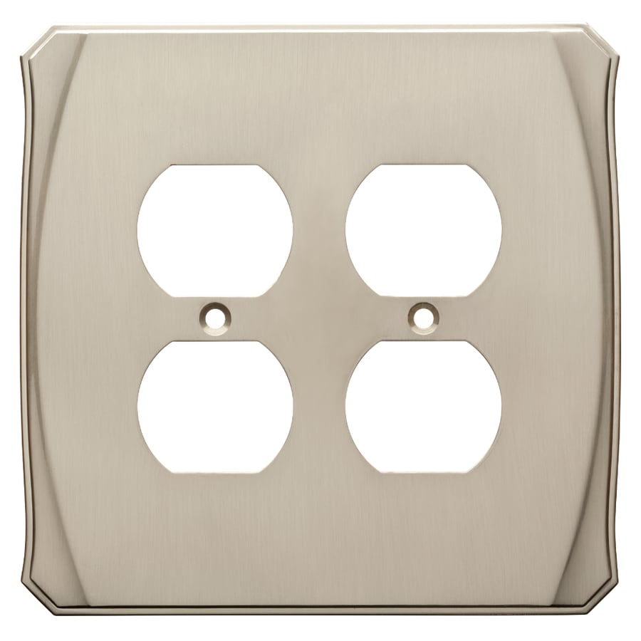 Brainerd Serene 2-Gang Satin Nickel Double Duplex Wall Plate