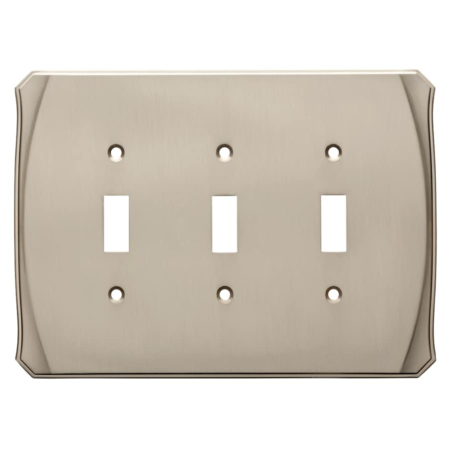 Brainerd Serene 3-Gang Satin Nickel Triple Toggle Wall Plate