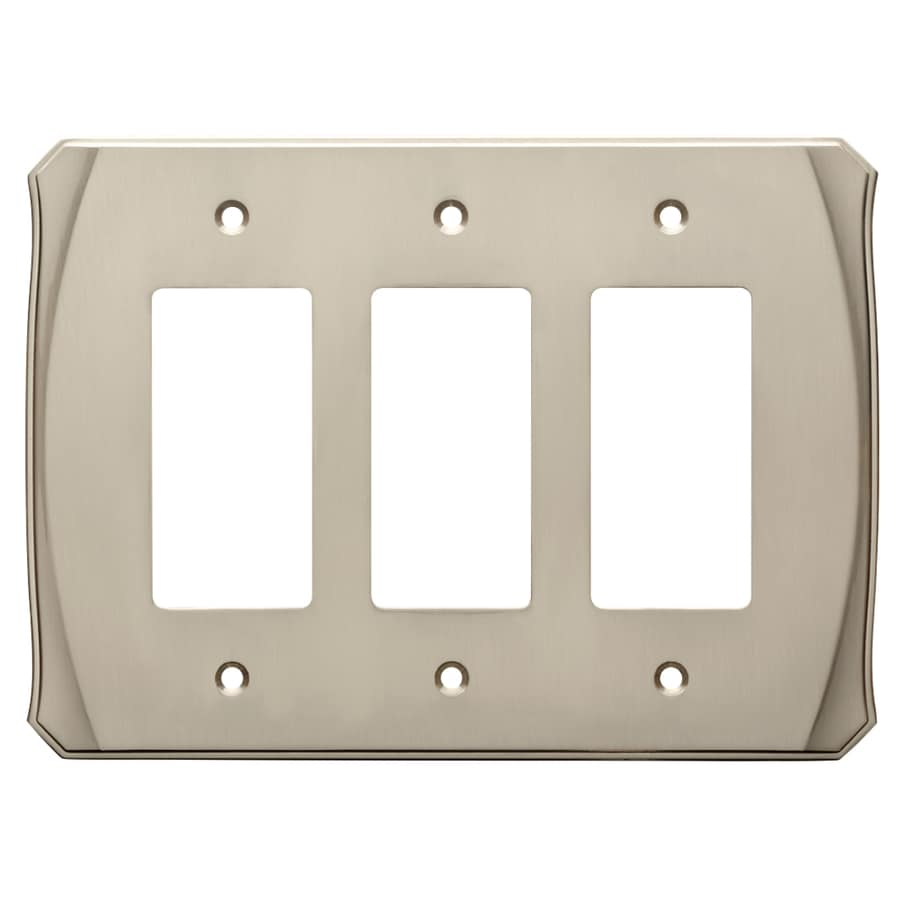 Brainerd Serene 3-Gang Satin Nickel Triple Decorator Wall Plate