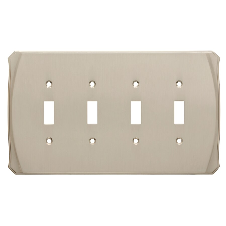 Brainerd Serene 4-Gang Satin Nickel Quad Toggle Wall Plate