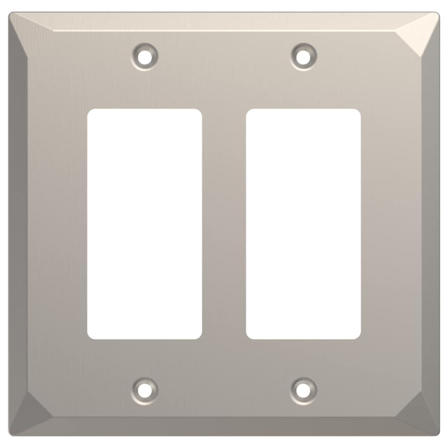Brainerd 2-Gang Satin Nickel Double Decorator Wall Plate
