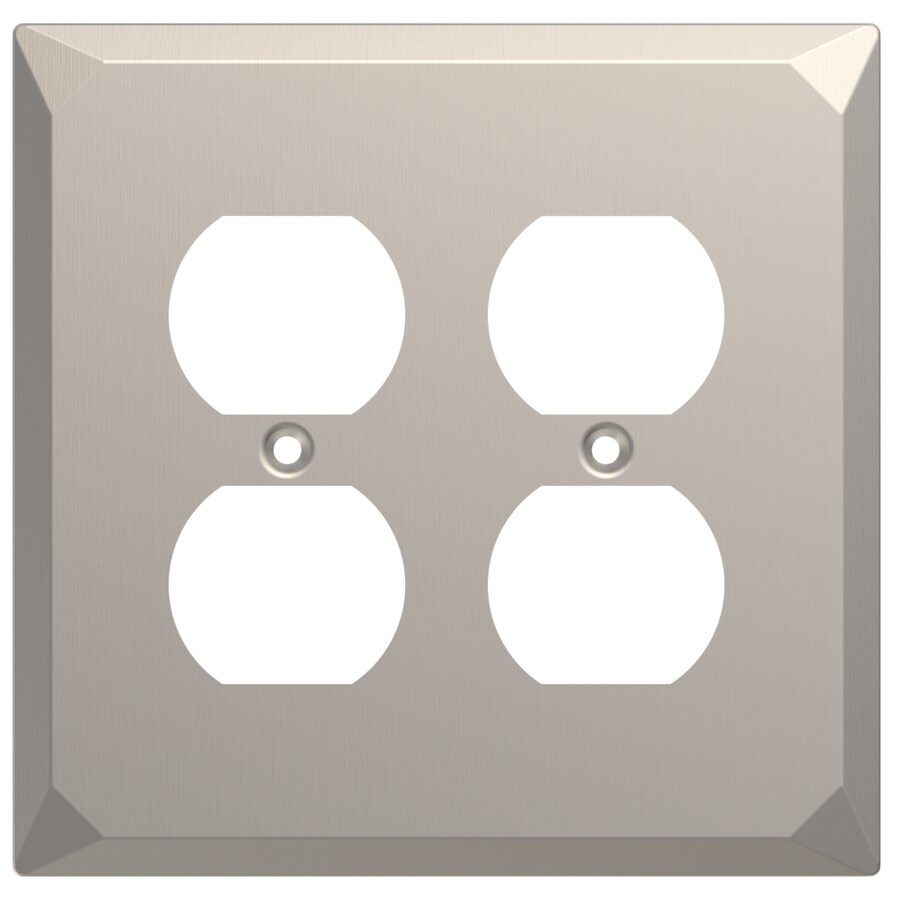 Brainerd 2-Gang Satin Nickel Double Duplex Wall Plate