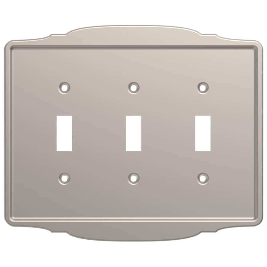 Brainerd 3-Gang Satin Nickel Triple Toggle Wall Plate