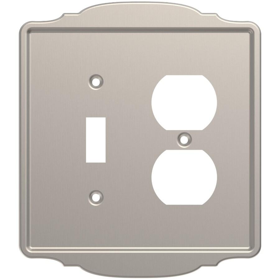 Brainerd 2-Gang Satin Nickel Single Toggle/Duplex Wall Plate