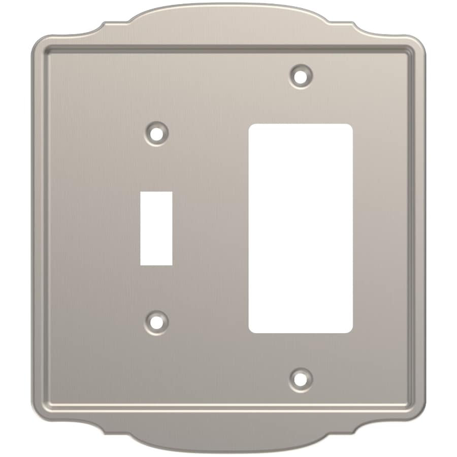 Brainerd 2-Gang Satin Nickel Single Toggle/Decorator Wall Plate