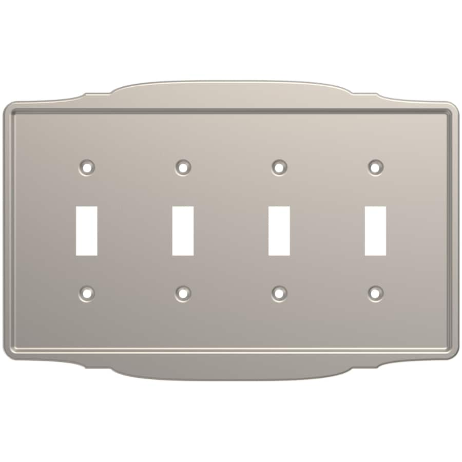 Brainerd 4-Gang Satin Nickel Quad Toggle Wall Plate