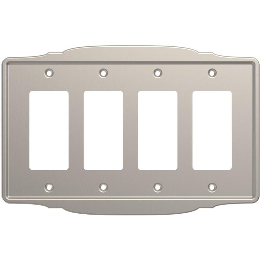 Brainerd 4-Gang Satin Nickel Quad Decorator Wall Plate