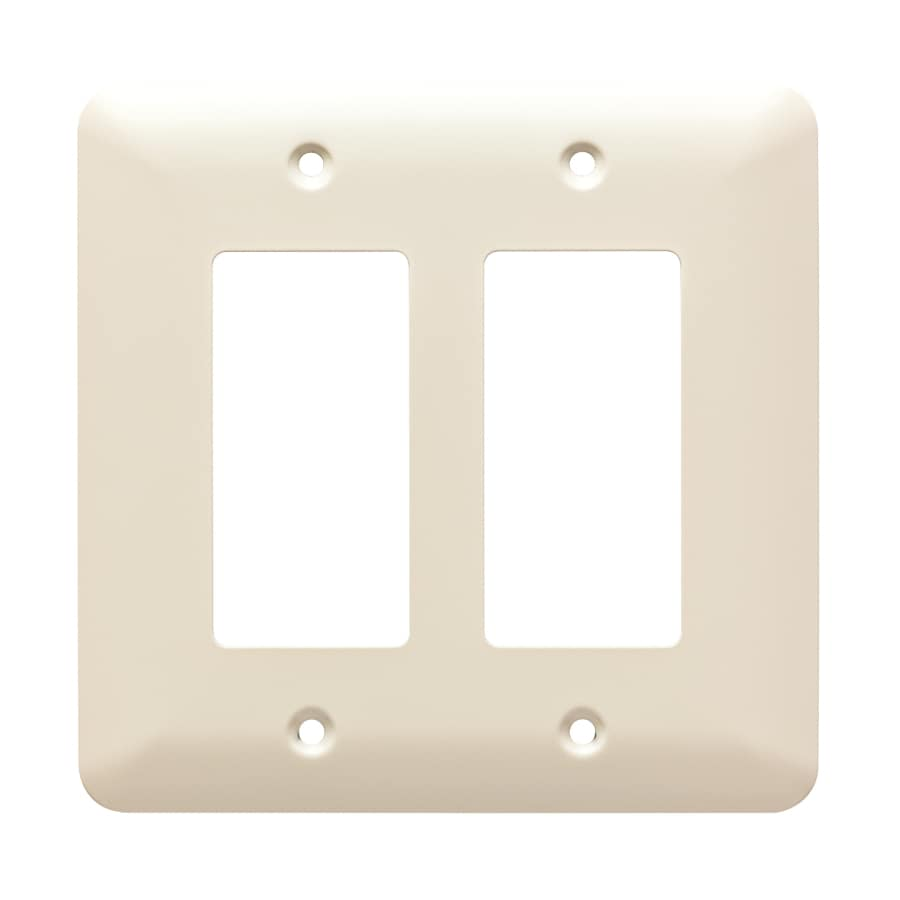 Brainerd Stamped Round 2-Gang Light Almond Double Decorator Wall Plate
