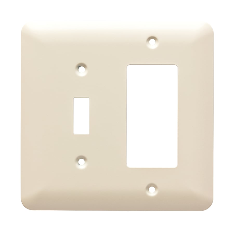Brainerd Stamped Round 2-Gang Light Almond Single Toggle/Decorator Wall Plate