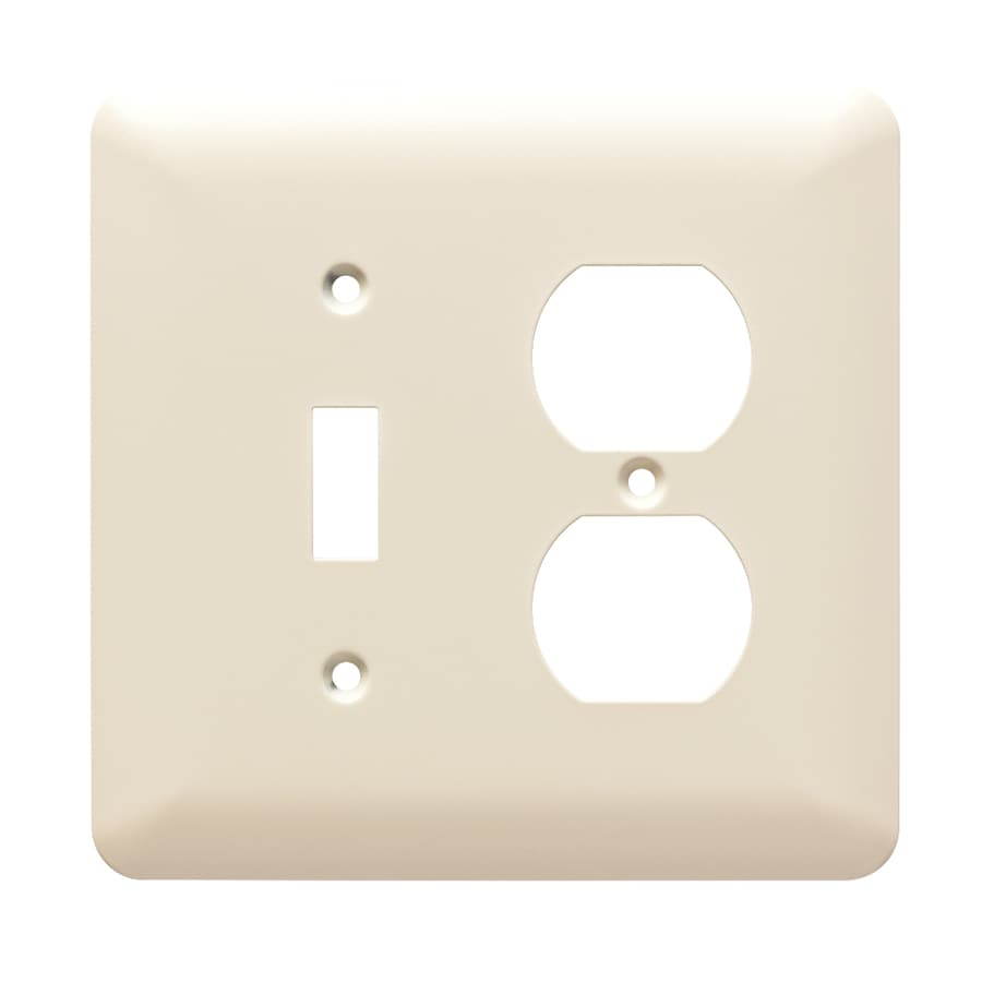 Brainerd Stamped Round 2-Gang Light Almond Single Toggle/Duplex Wall Plate