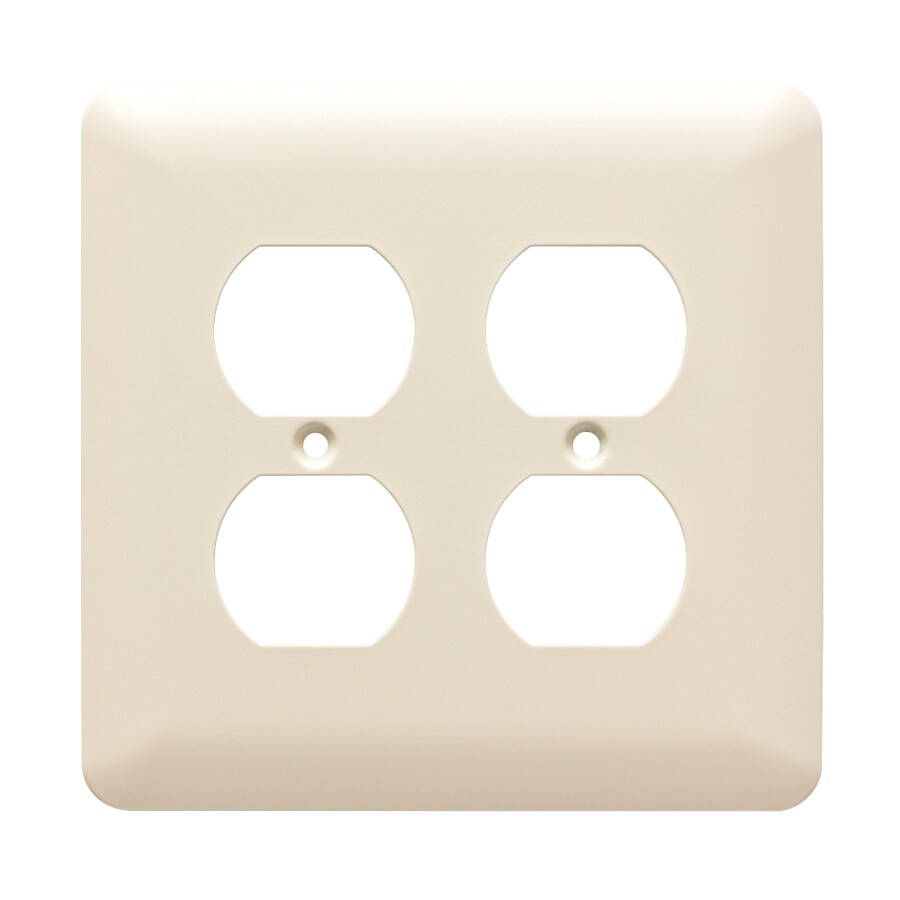 Brainerd Stamped Round 2-Gang Light Almond Double Duplex Wall Plate
