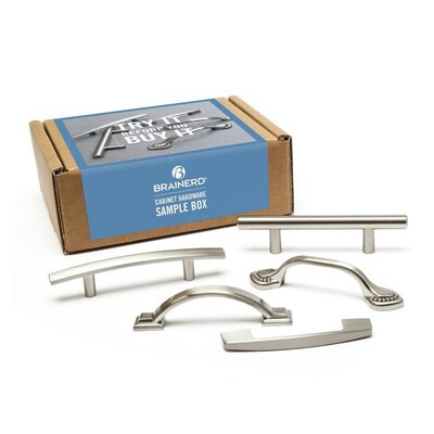 Brushed Silver Cool Pulls Cabinet Hardware Sample Box