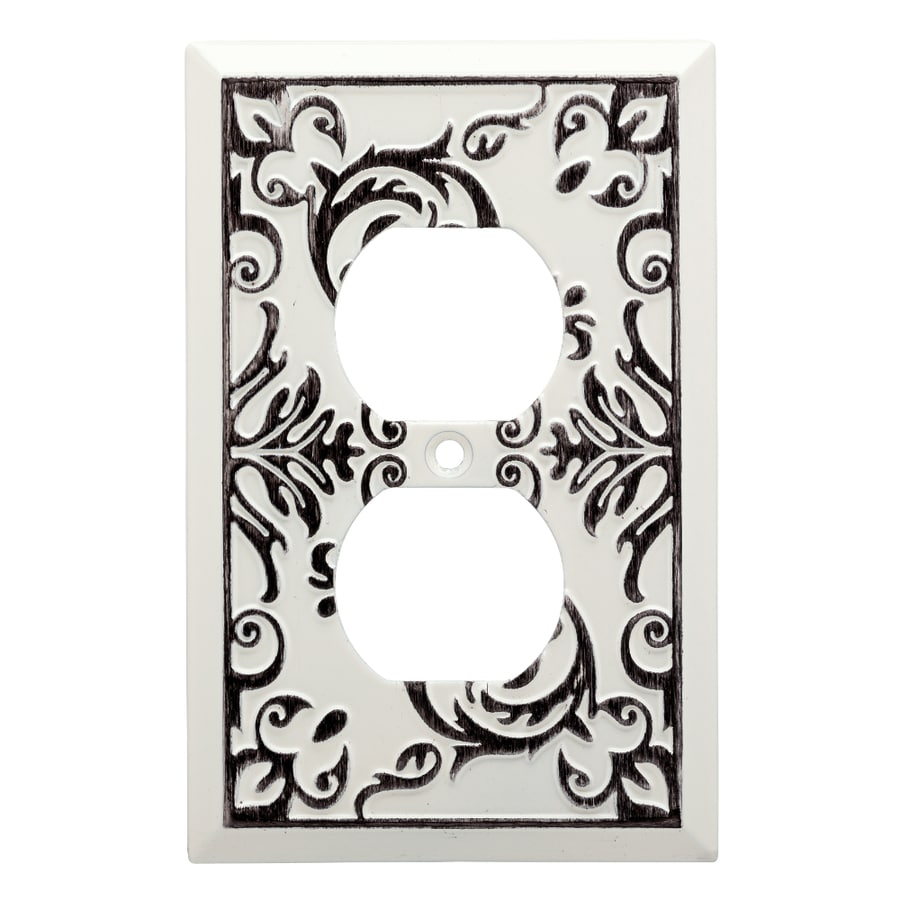 Brainerd Fairhope 1-Gang White Wash Single Duplex Wall Plate