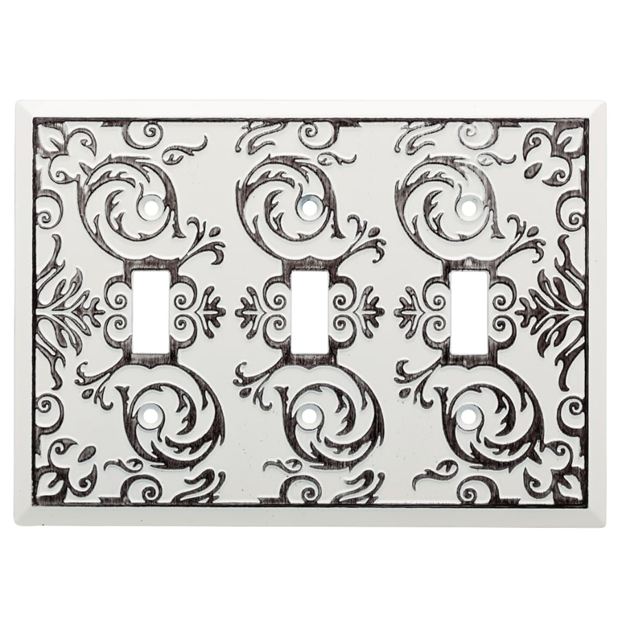 Brainerd Fairhope 3-Gang White Wash Triple Toggle Wall Plate