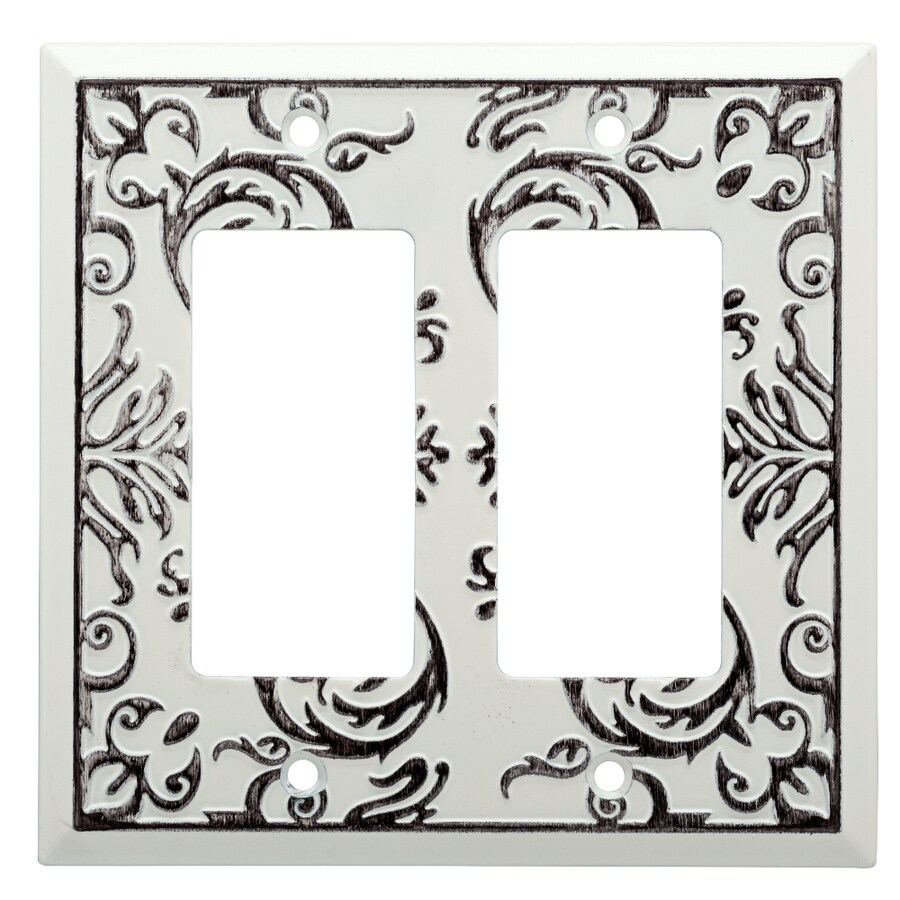 Brainerd Fairhope 2-Gang White Wash Double Decorator Wall Plate
