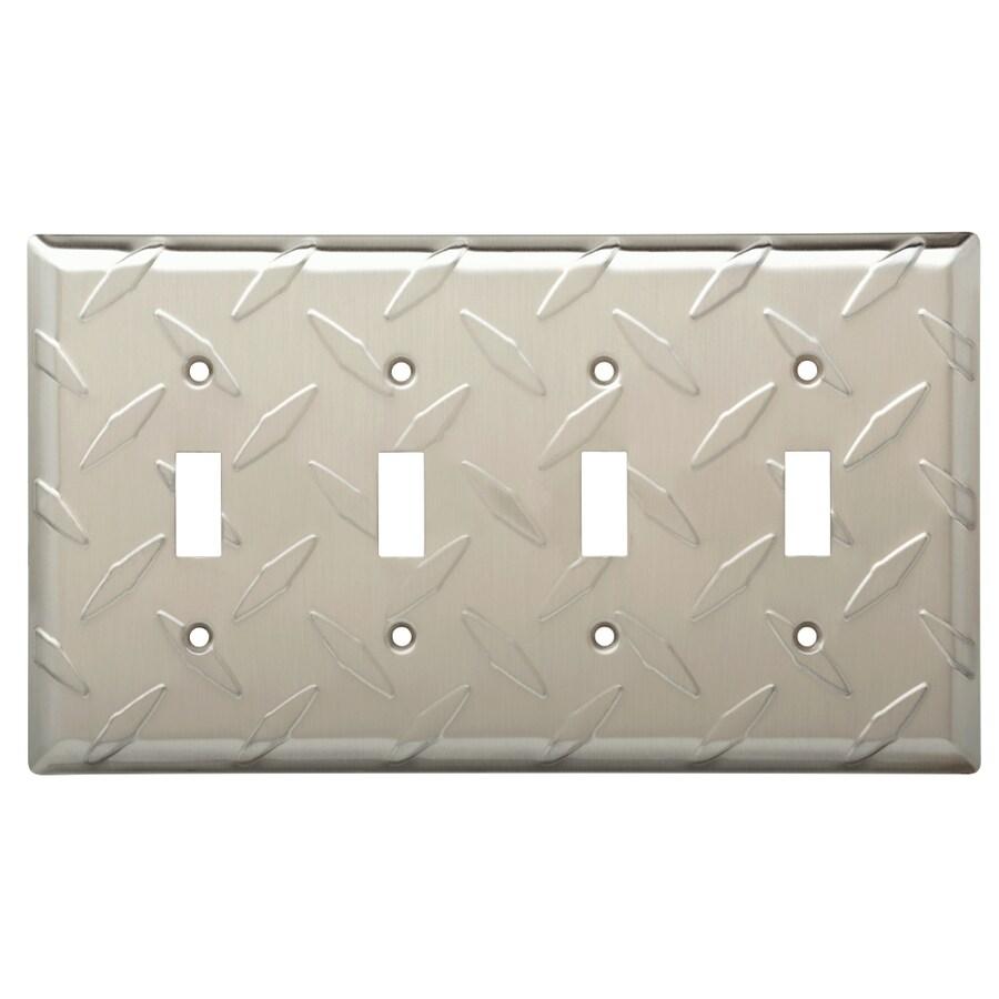 Brainerd Diamond Plate 4-Gang Satin Nickel Quad Toggle Wall Plate