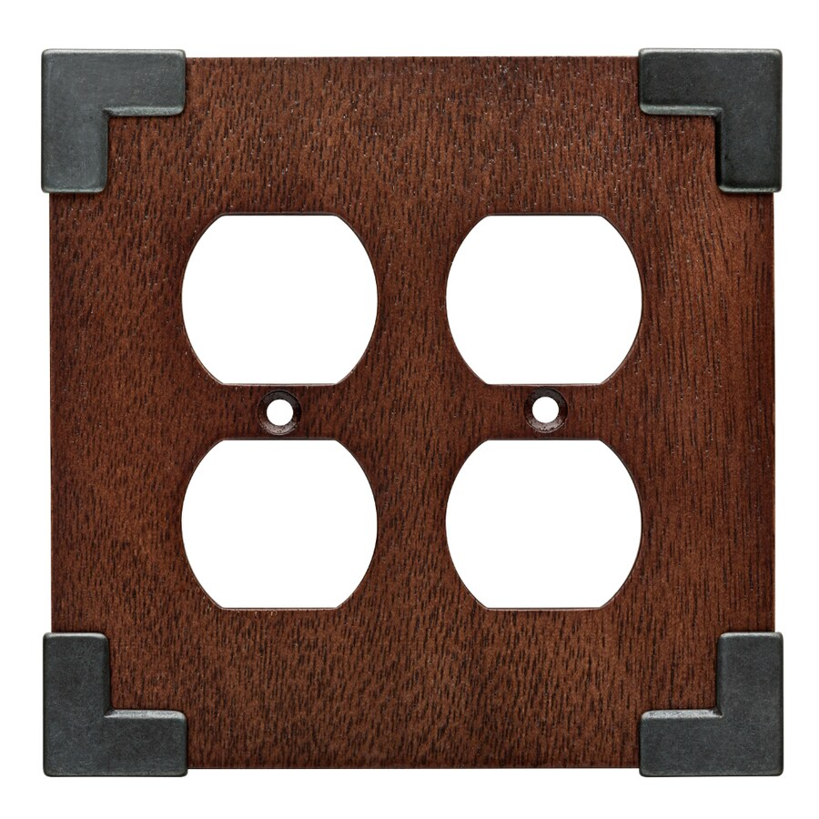 Brainerd Rowland 2-Gang Charcoal Ebony and Soft Iron Double Duplex Wall Plate