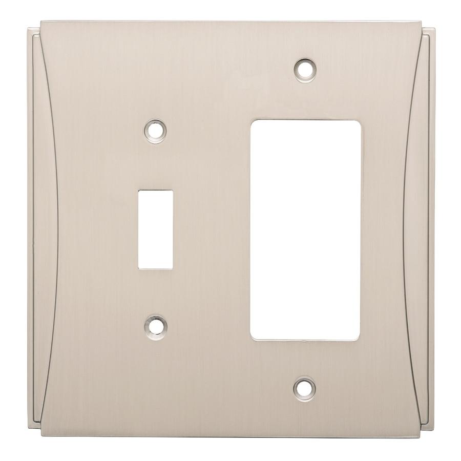 Brainerd Upton 2-Gang Satin Nickel Single Toggle/Decorator Wall Plate