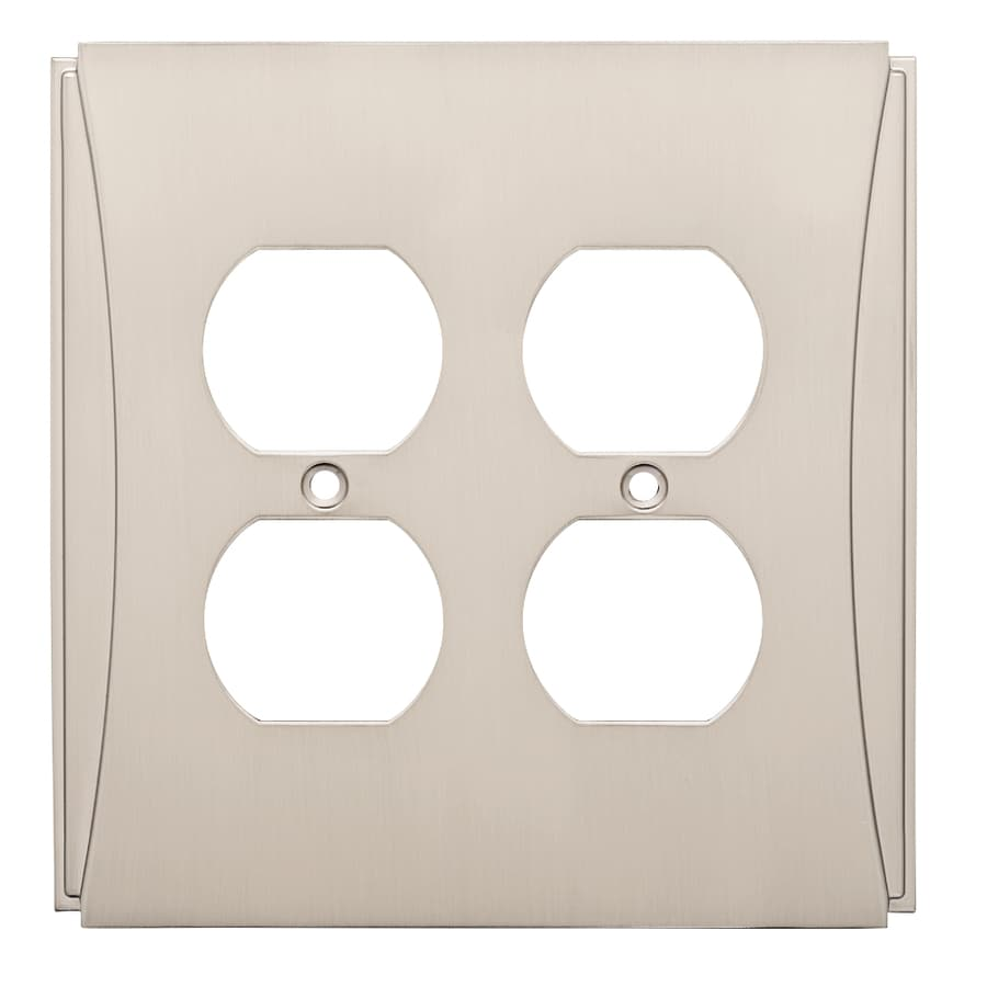 Brainerd Upton 2-Gang Satin Nickel Double Duplex Wall Plate