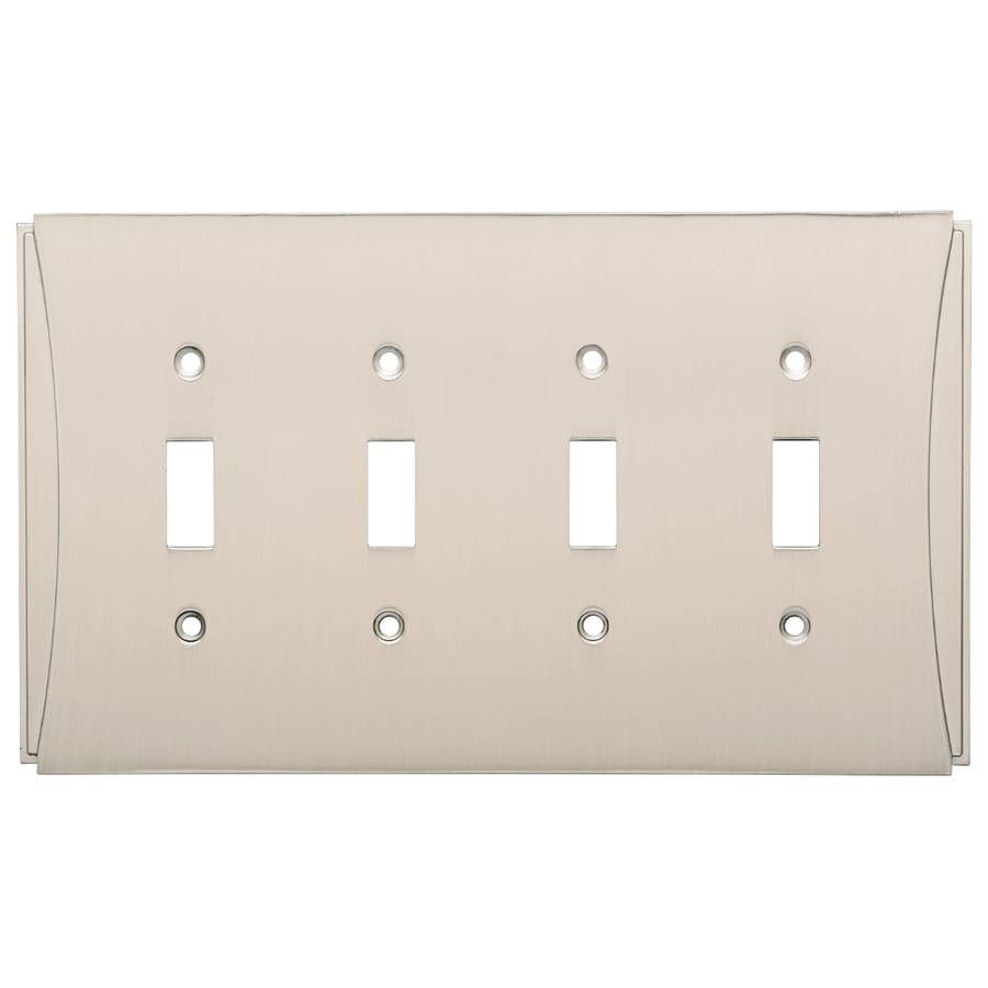 Brainerd Upton 4-Gang Satin Nickel Quad Toggle Wall Plate