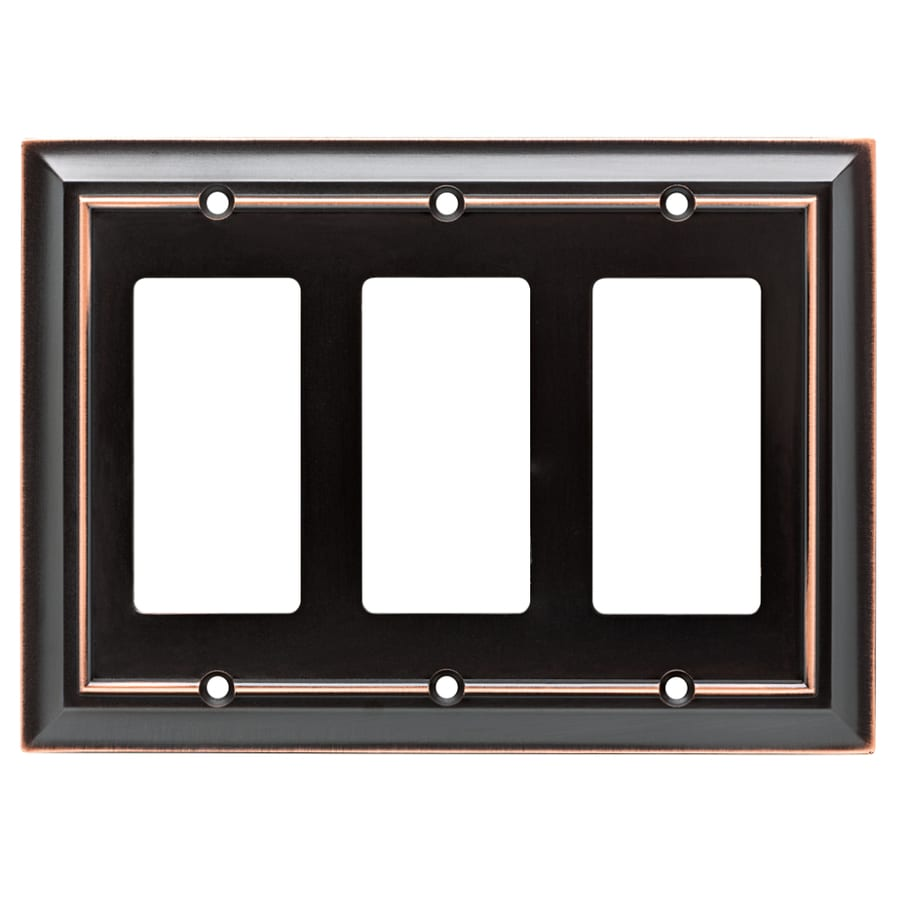 Brainerd Architectural 3-Gang Delta Oil Rubbed Bronze Triple Decorator Wall Plate