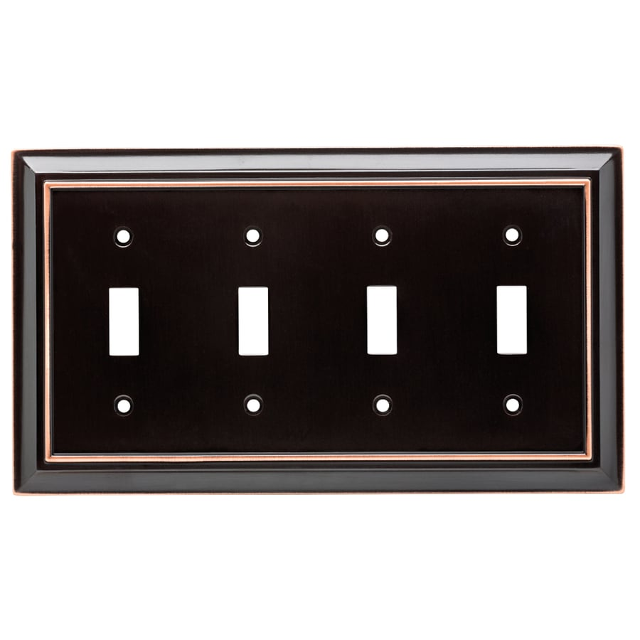 Brainerd Architectural 4-Gang Delta Oil Rubbed Bronze Quad Toggle Wall Plate