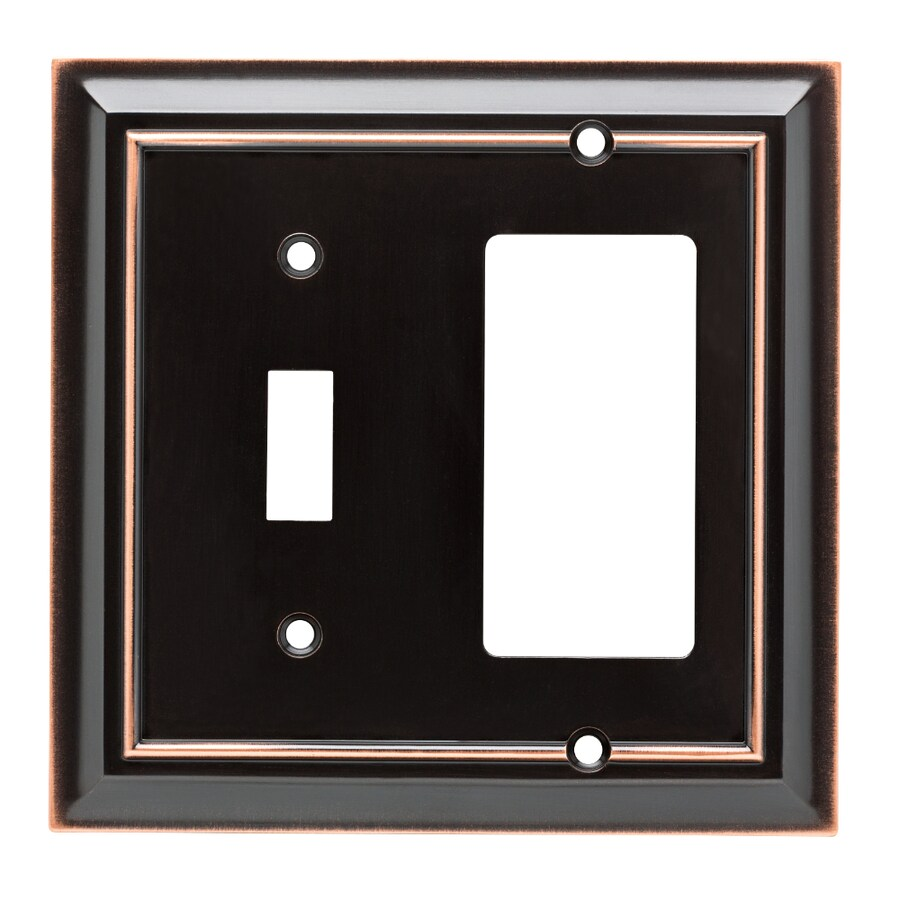 Brainerd Architectural 2-Gang Delta Oil Rubbed Bronze Single Toggle/Decorator Wall Plate
