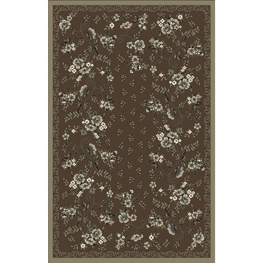 Regence Home Malmesbury Rectangular Brown Floral Woven Accent Rug (Common: 3-ft x 5-ft; Actual: 39-in x 55-in)