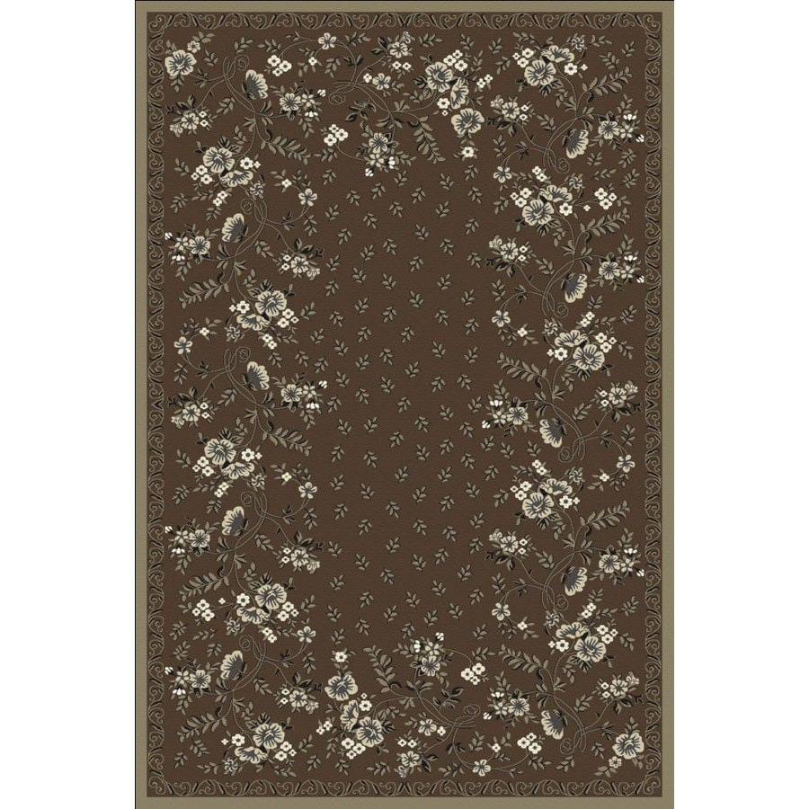 Regence Home Malmesbury Rectangular Brown Floral Woven Area Rug (Common: 5-ft x 8-ft; Actual: 5-ft x 7-ft)