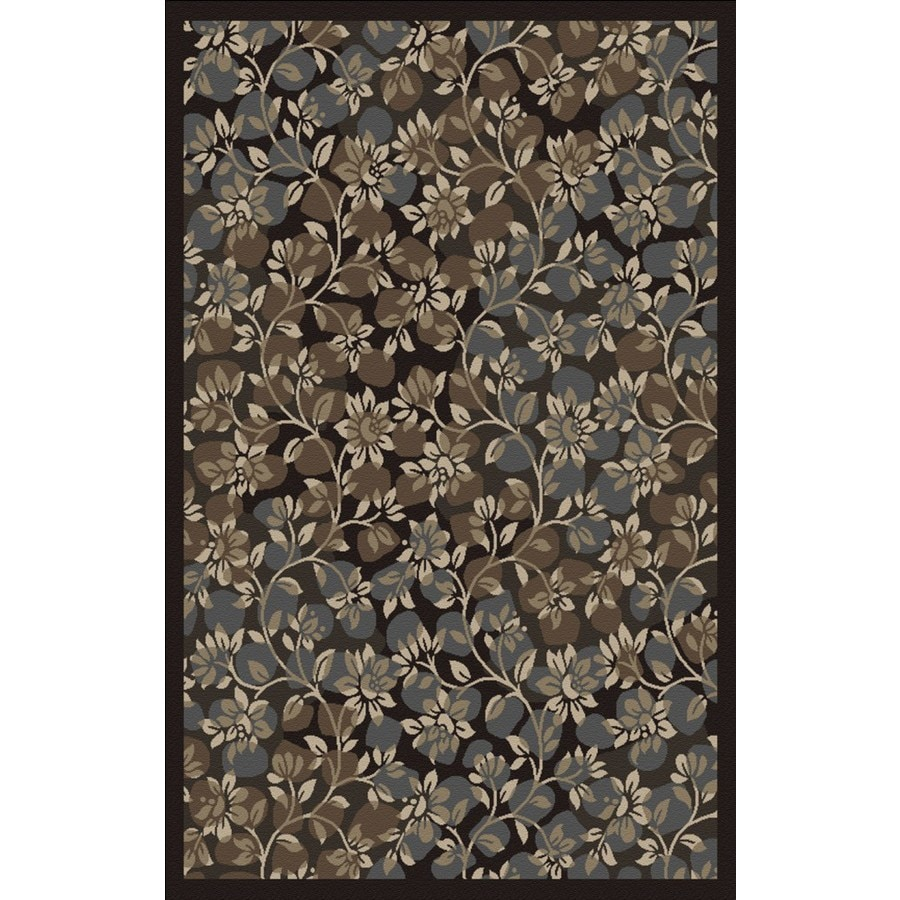 Regence Home Malmesbury 39-in x 55-in Rectangular Black Floral Accent Rug