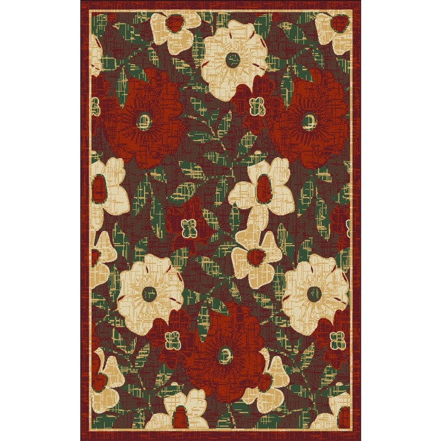Regence Home Winchester Rectangular Red Floral Woven Accent Rug (Common: 3-ft x 5-ft; Actual: 39-in x 55-in)