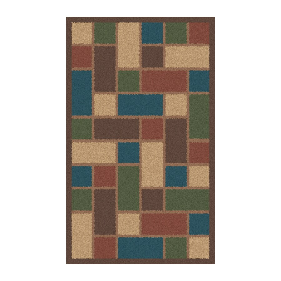 Regence Home Wellington Rectangular Brown Geometric Tufted Wool Accent Rug (Common: 3-ft x 5-ft; Actual: 36-in x 60-in)