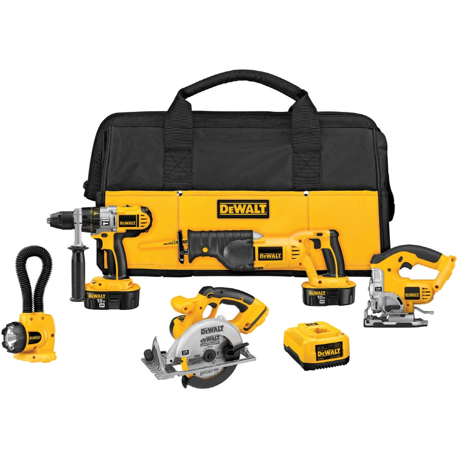 DEWALT 5-Tool 18-Volt Nickel Cadmium (Nicd) Brushed Motor Cordless Combo Kit with Soft Case
