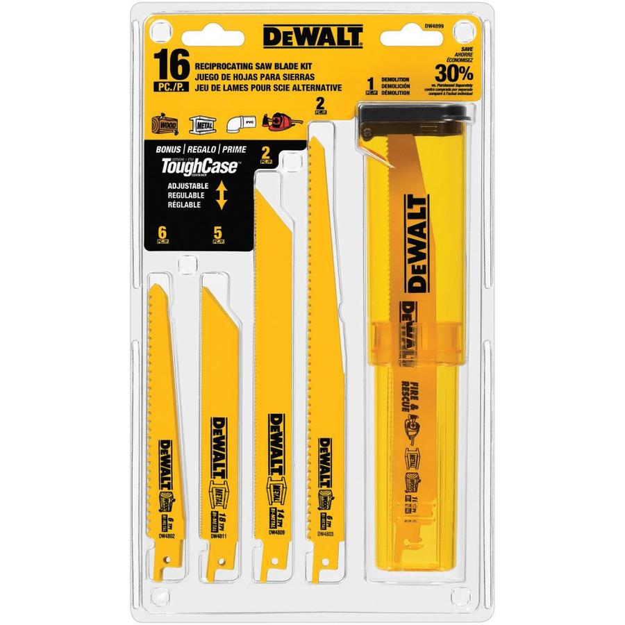 Shop dewalt 16 pack bi metal reciprocating saw blade set at lowes dewalt 16 pack bi metal reciprocating saw blade set greentooth Gallery