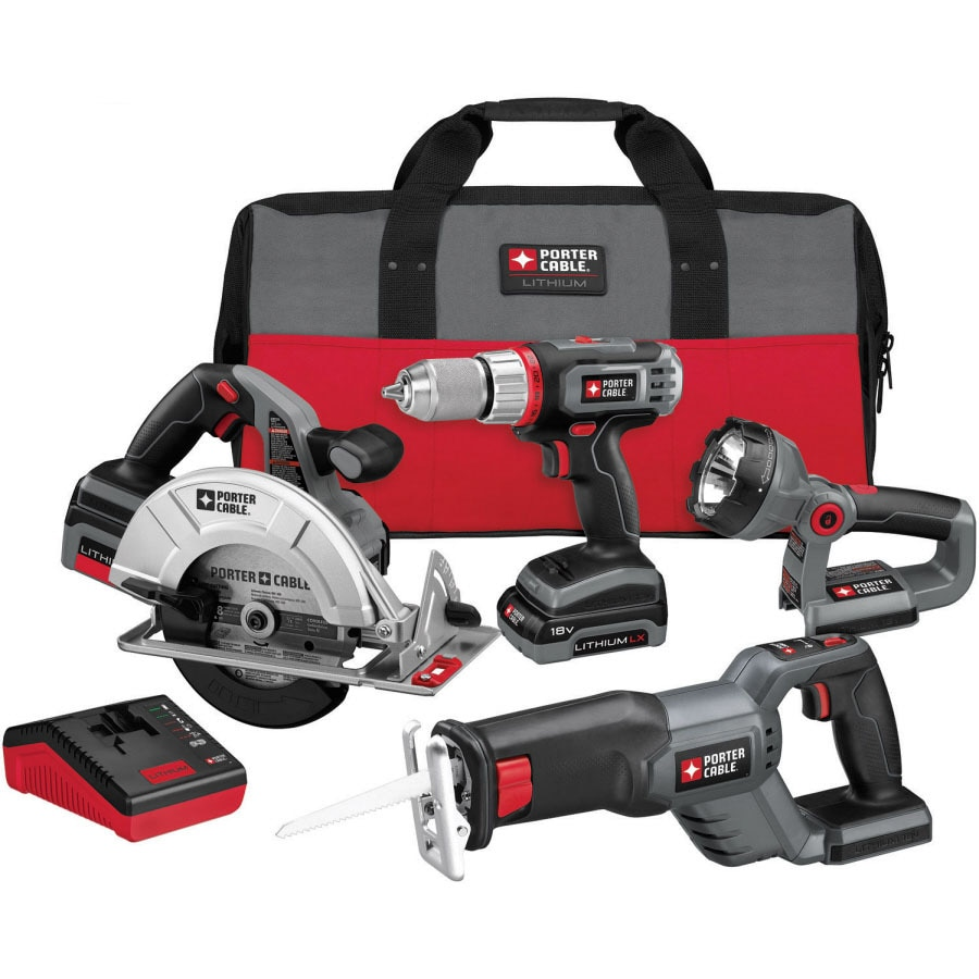 PORTER-CABLE 4-Tool 18-Volt Lithium Ion (Li-ion) Brushed Motor Cordless Combo Kit with Soft Case