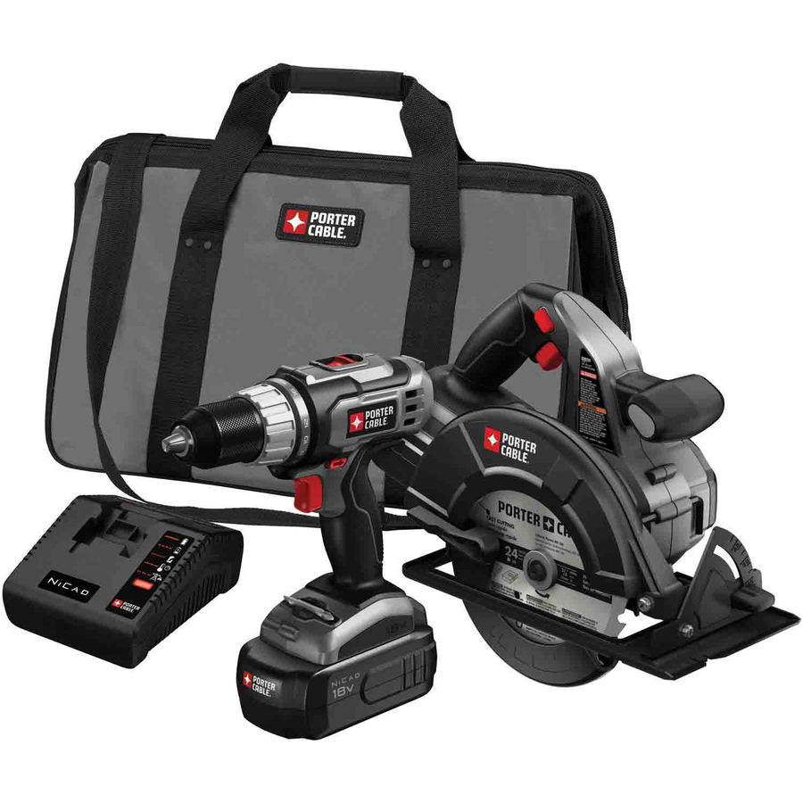 PORTER-CABLE 2-Tool Nickel Cadmium (Nicd) Brushed Motor Cordless Combo Kit with Soft Case