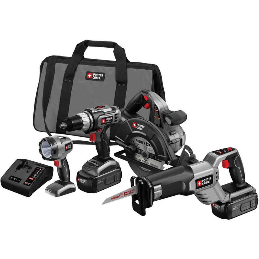 PORTER-CABLE 4-Tool 18-Volt Nickel Cadmium (Nicd) Brushed Motor Cordless Combo Kit with Soft Case