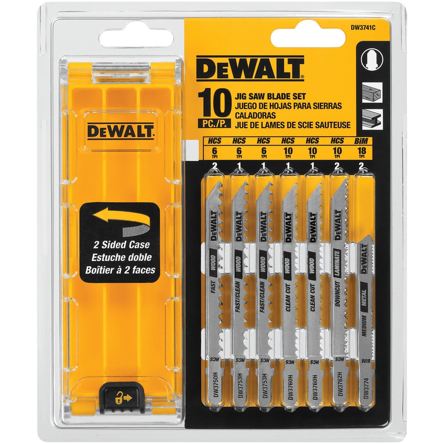 Dewalt 10 Pack 1 3 4 In T Shank Bi Metal Jigsaw Blade Set