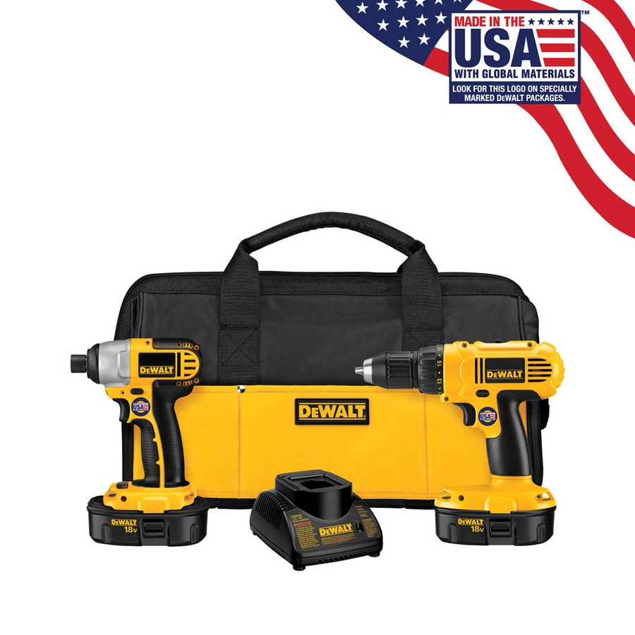 DEWALT 2-Tool 18-Volt Nickel Cadmium (Nicd) Brushed Motor Cordless Combo Kit with Soft Case
