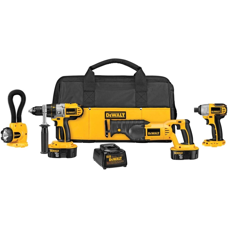 DEWALT 4-Tool 18-Volt Nickel Cadmium (Nicd) Motor Cordless Combo Kit with Soft Case