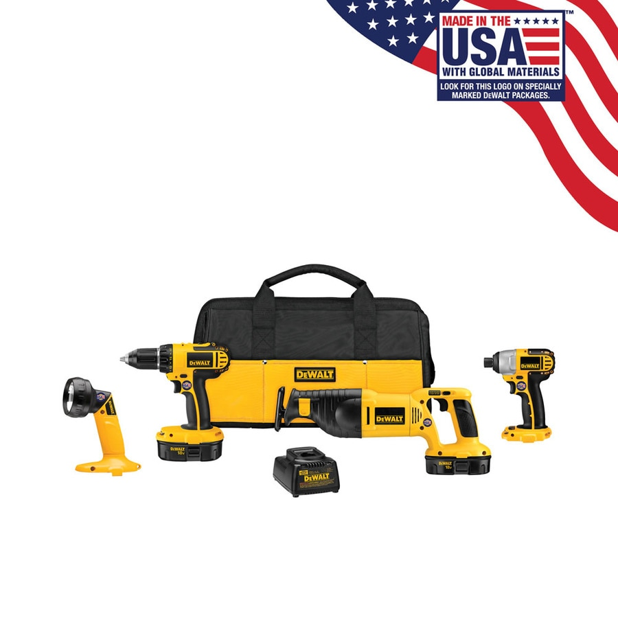 DEWALT 4-Tool 18-Volt Nickel Cadmium (NiCd) Brushed Motor Cordless Combo Kit with Soft Case