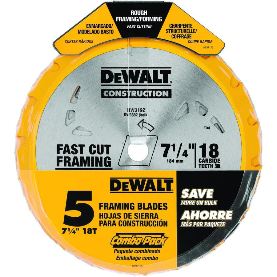 DEWALT Construction 5-Pack 7-1/4-in 18-Tooth Carbide Circular Saw Blade