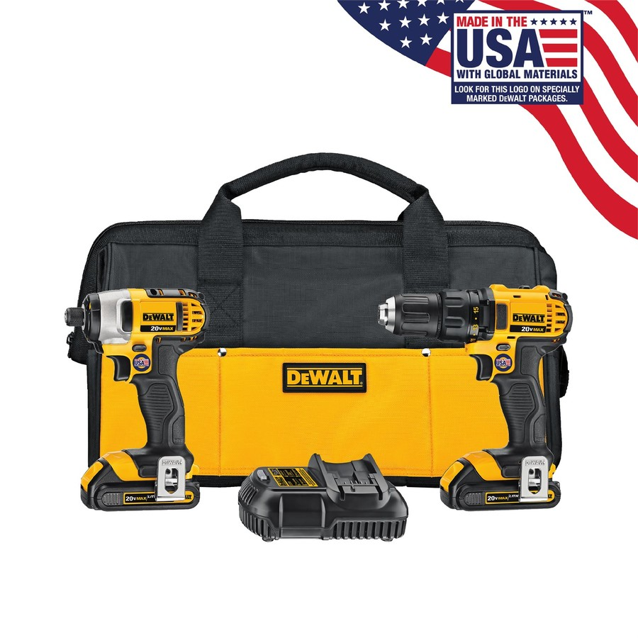 DEWALT 2-Tool 20-Volt Max Lithium Ion (Li-ion) Brushed Motor Cordless Combo Kit with Soft Case