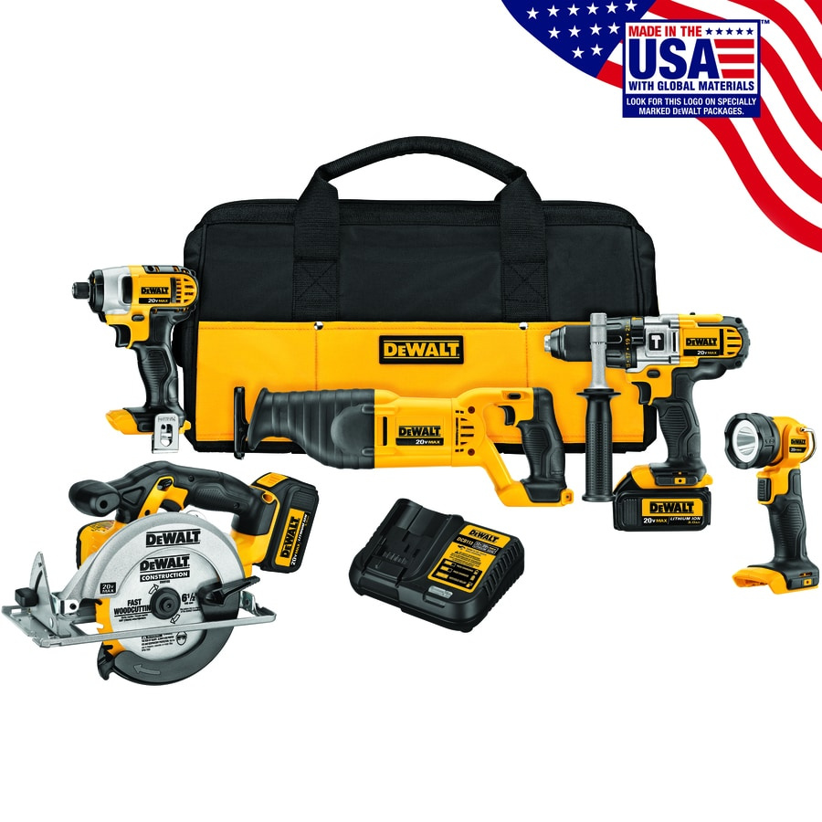 Shop tools for dad at lowes dewalt 5 tool 20 volt max lithium ion cordless combo kit greentooth Images